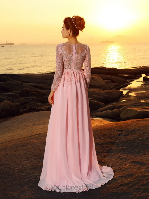 Chicregina Sweep Train A-Line/Princess Long Sleeves Bateau Chiffon Dress with Sash