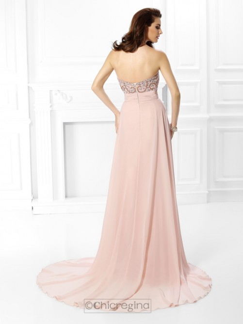 Chicregina SweepTrain A-Line/Princess Sweetheart Chiffon Dress With Rhinestone