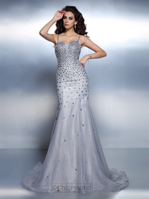 Chicregina Sweep Train Trumpet Spaghetti Straps Organza Evening Dress with Beading Rhinestone