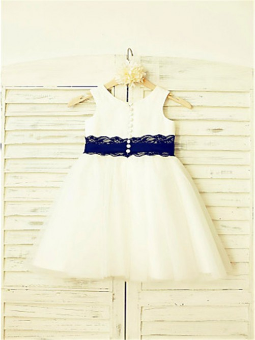 Chicregina A-Line/Princess Scoop Sleeveless Lace Tea-Length Flower Girl Dress with Tulle