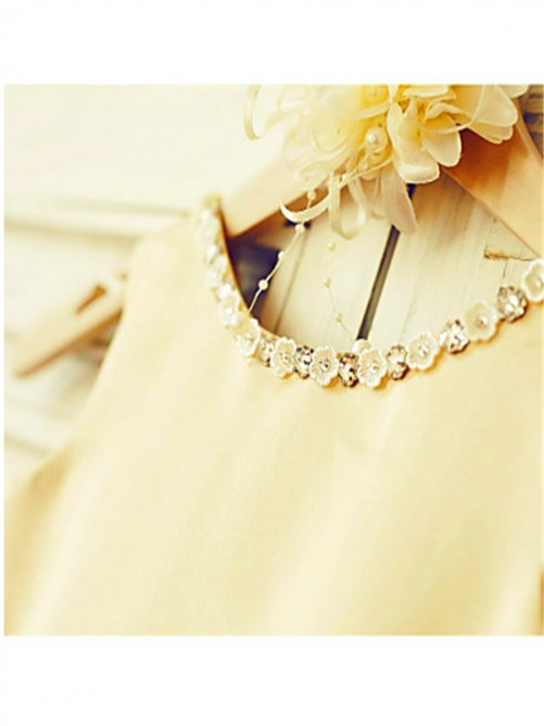 Chicregina A-Line/Princess Scoop Sleeveless Bowknot Tea-Length Flower Girl Dress with Tulle