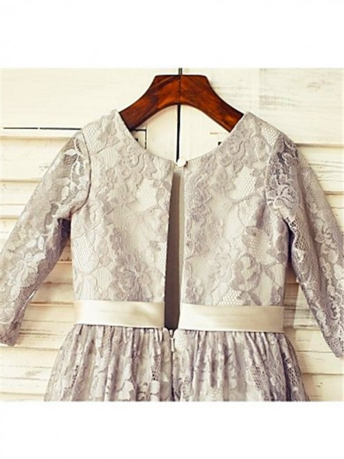 Chicregina Long A-Line/Princess Scoop 3/4 Sleeves Flower Girl Dress with Lace