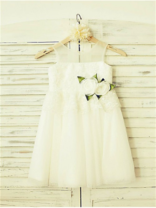 Chicregina Long A-Line/Princess Straps Sleeveless Flower Girl Dress with Tulle