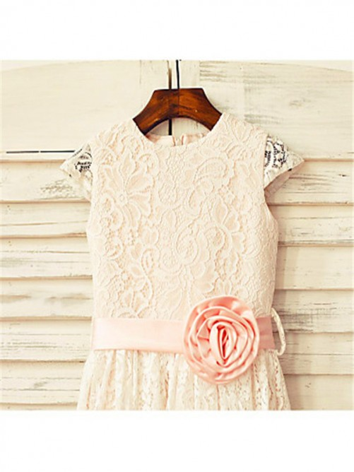 Chicregina Long A-Line/Princess Scoop Short Sleeves Flower Girl Dress with Lace