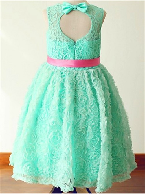 Chicregina Long A-Line/Princess Jewel Sleeveless Bowknot Flower Girl Dress with Lace