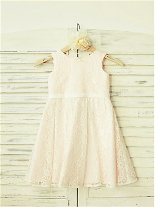 Chicregina Long A-Line/Princess Jewel Sleeveless Flower Girl Dress with Lace