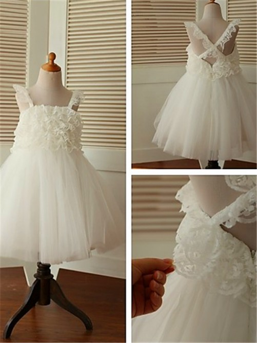 Chicregina A-Line/Princess Sleeveless Straps Tea-Length Organza Flower Girl Dress with Ruffles
