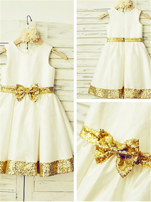 Chicregina A-Line/Princess Scoop Sleeveless Tea-Length Satin Flower Girl Dress with Sequin