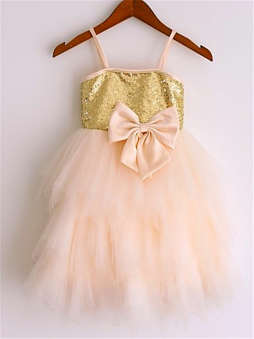 Chicregina A-Line/Princess Spaghetti Straps Sleeveless Tea-Length Net Flower Girl Dress with Sequin