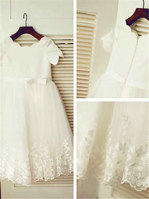 A-Line/Princess Scoop Short Sleeves Tea-Length Flower Girl Dress with Lace
