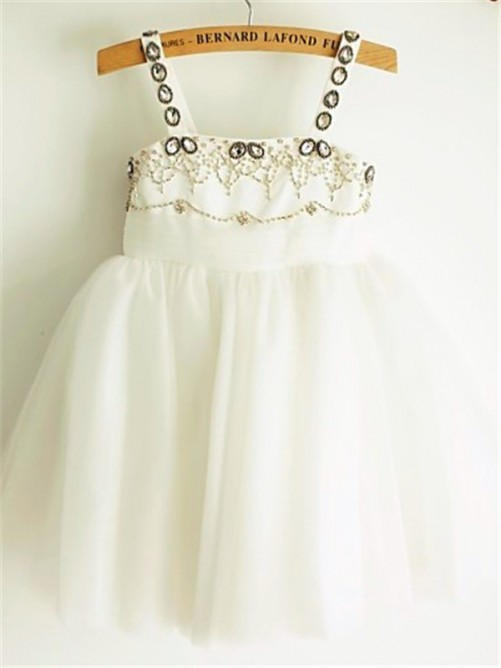 Chicregina A-Line/Princess Spaghetti Straps Sleeveless Beading Tea-Length Tulle Dress with Beading