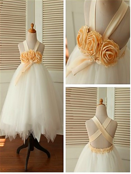 Chicregina Ball Gown Sleeveless Straps Tea-Length Flower Girl Dress with Tulle
