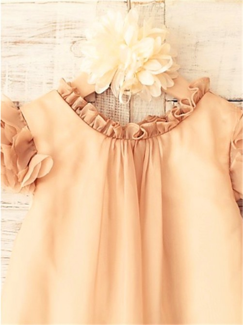 Chicregina A-Line/Princess Scoop Short Sleeves Tea-Length Chiffon Flower Girl Dress