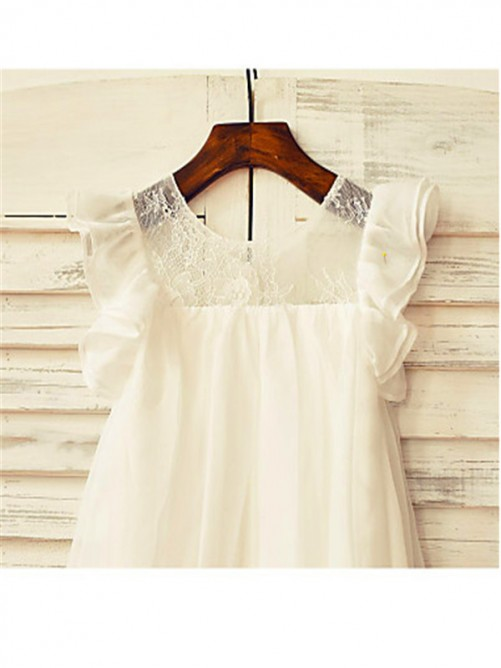 Chicregina A-Line/Princess Scoop Short Sleeves Tea-Length Chiffon Flower Girl Dress with Lace