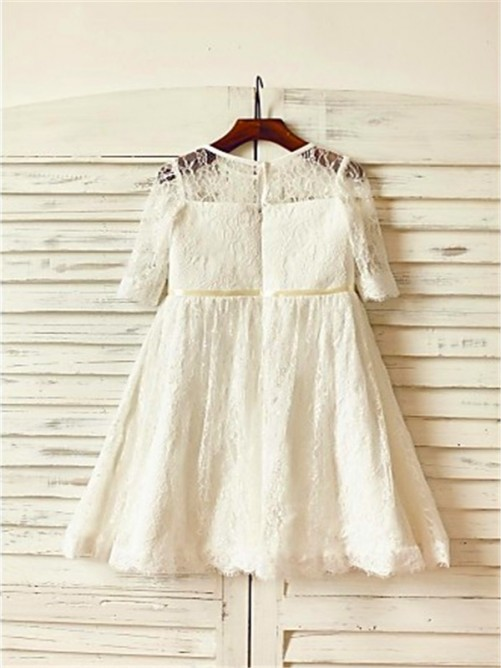 Chicregina A-Line/Princess Scoop 3/4 Sleeves Ankle-Length Communion Dress with Lace