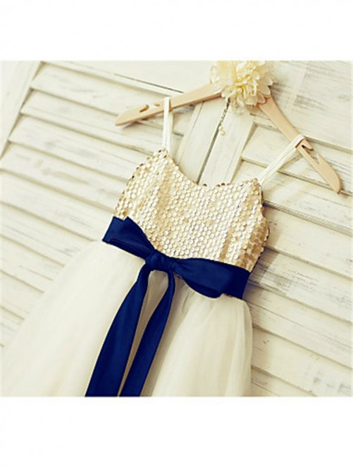 Chicregina A-Line/Princess Spaghetti Straps Sleeveless Sequin Ankle-Length Dress with Tulle