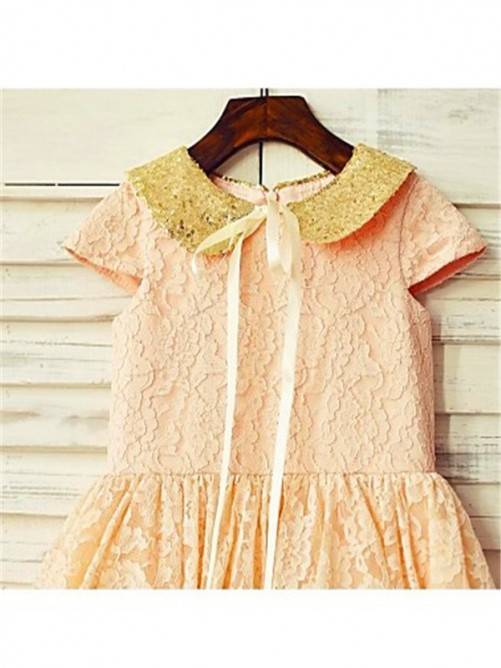 Chicregina A-Line/Princess Short Sleeves Scoop Sequin Tea-Length Flower Girl Dress with Lace
