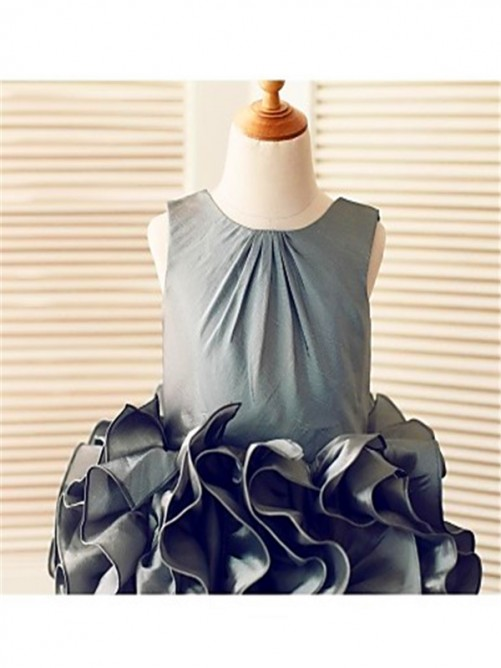 Chicregina Ball Gown Sleeveless Straps Tea-Length Tulle Flower Girl Dress with Ruffles