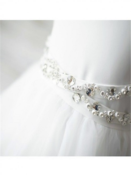 A-Line Spaghetti Straps Sleeveless Sweep/Brush Train Tulle Dress with Beading