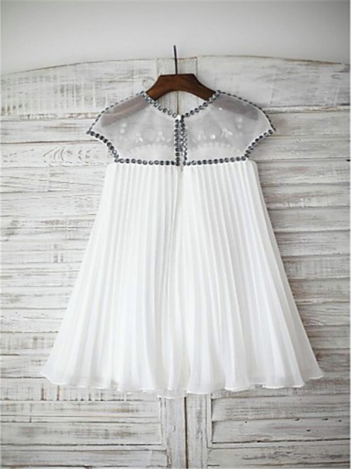 Chicregina Long A-Line/Princess Scoop Short Sleeves Beading Chiffon Flower Girl Dress with Beading