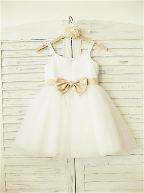 A-Line/Princess Spaghetti Straps Sleeveless Bowknot Knee-Length Flower Girl Dress with Tulle