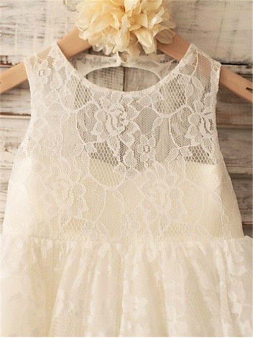 Chicregina Long A-Line/Princess Scoop Sleeveless Flower Girl Dress with Lace