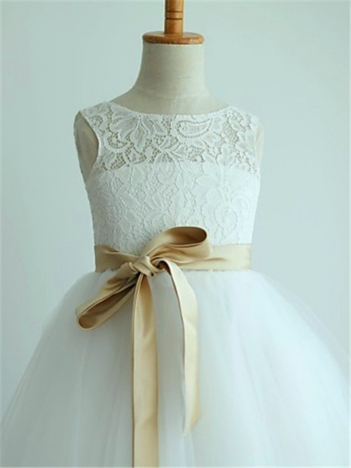 A-Line/Princess Scoop Sleeveless Sash Tea-Length Flower Girl Dress with Tulle