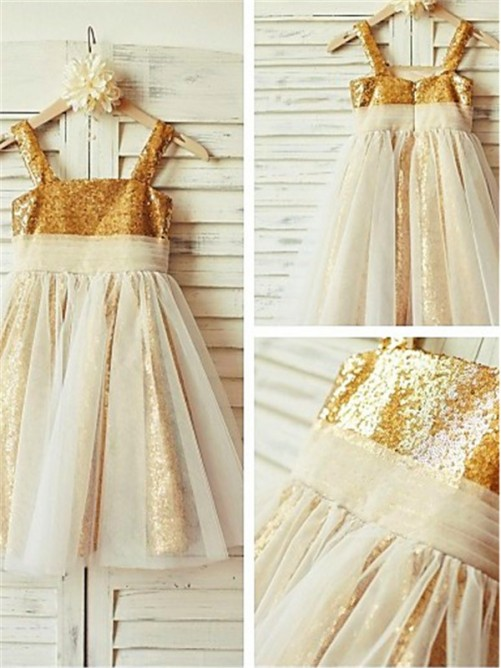 Chicregina Long A-Line/Princess Spaghetti Straps Sleeveless Sequins Flower Girl Dress with Ruffles