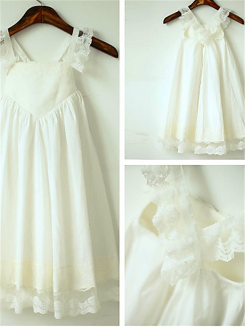 A-Line/Princess Straps Sleeveless Chiffon Tea-Length Flower Girl Dress with Ruffles