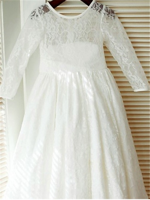 Chicregina Long A-Line/Princess Scoop Sleeves Bowknot Flower Girl Dress with Lace
