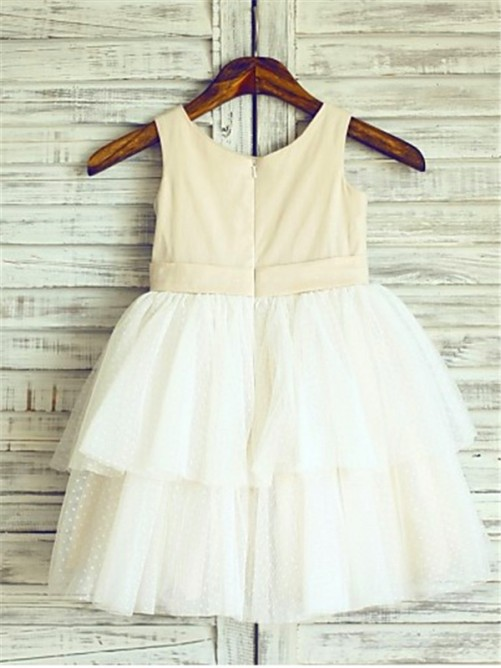 Chicregina A-Line/Princess Straps Sleeveless Tea-Length Communion Dress with Tulle