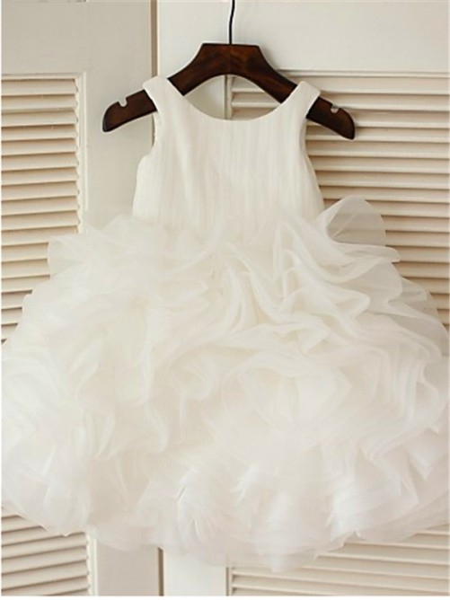 Ball Gown Scoop Sleeveless Layers Knee-Length Organza Communion Dresses