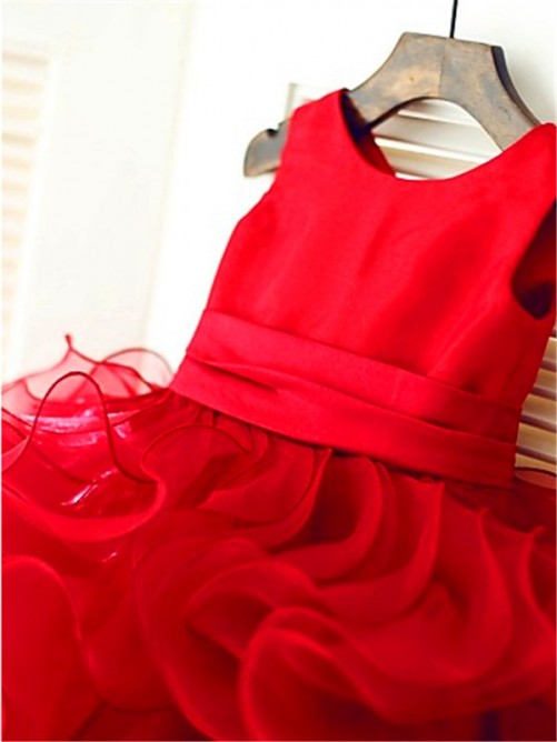 Ball Gown Scoop Sleeveless Layers Knee-Length Organza Flower Girl Dresses