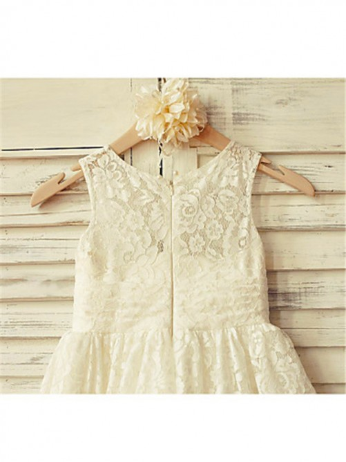 Chicregina A-Line/Princess Scoop Sleeveless Tea-Length Lace Flower Girl Dress with Ruffles