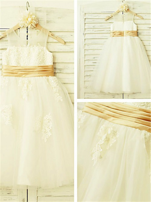 Chicregina A-Line/Princess Sleeveless Scoop Lace Tea-Length Flower Girl Dress with Tulle