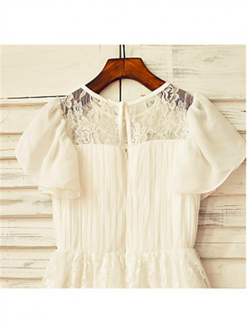 Chicregina Long A-Line/Princess Scoop Short Sleeves Chiffon Flower Girl Dress with Lace