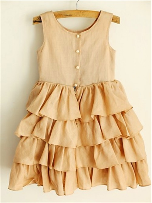 Chicregina A-Line/Princess Scoop Sleeveless Layers Tea-Length Chiffon Flower Girl Dress