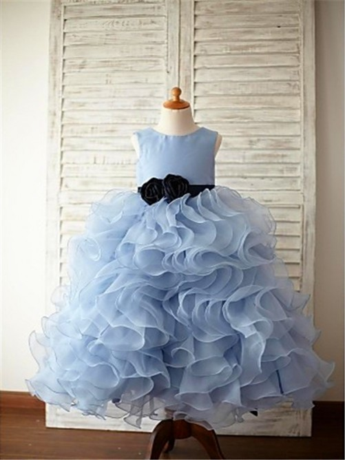 Chicregina Long Ball Gown Sleeveless Scoop Organza Flower Girl Dress with Ruffles