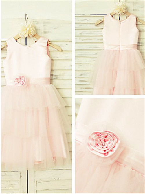 Chicregina Long A-Line/Princess Scoop Sleeveless Flower Girl Dress with Tulle