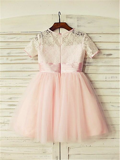 Chicregina Long A-Line/Princess Jewel Short Sleeves Lace Flower Girl Dress with Tulle