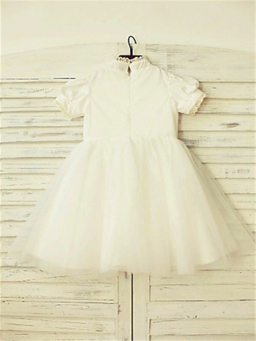 Chicregina A-Line/Princess High Neck Short Sleeves Lace Tea-Length Flower Girl Dress with Tulle