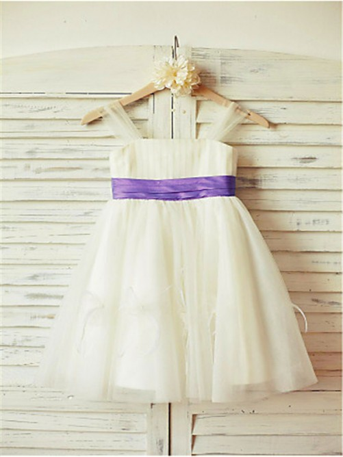 Chicregina Long A-Line/Princess Straps Sleeveless Tulle Flower Girl Dress with Ruffles