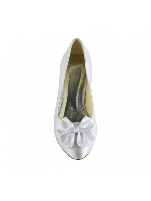 Chicregina Womens Satin Low Heel Pumps Wedding Shoes with Bowknot