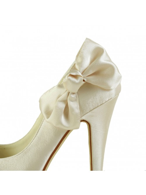 Chicregina Womens Satin Stiletto Heel Closed Toe Platform Pumps Bridal Shoes with Bowknot
