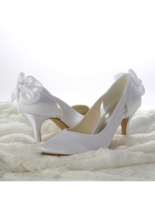 Chicregina Womens Satin Stiletto Heel Pumps Wedding Shoes with Hollow Out