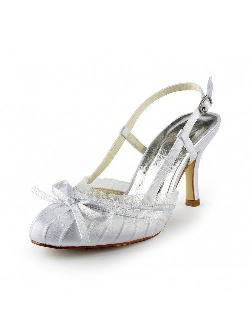 Chicregina Womens Pretty Satin Stiletto Heel Sandals Closed Toe Bridal Shoes with Buckle