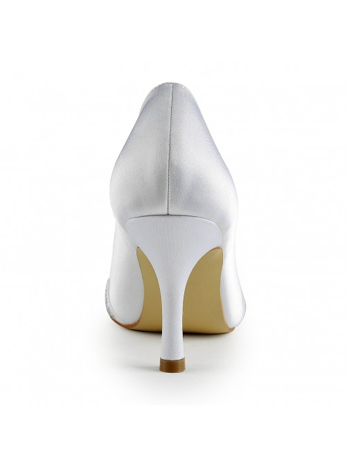 Chicregina Womens Lovely Satin Stiletto Heel Closed Toe Wedding Shoes with Rhinestone