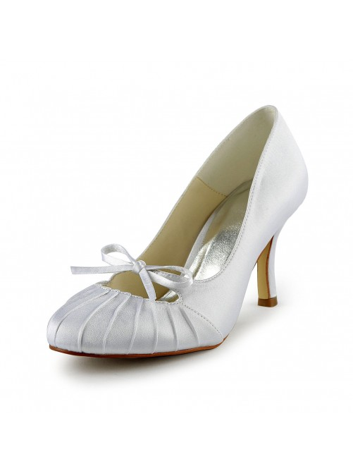 Chicregina Womens Satin Stiletto Heel Closed Toe Pumps Bridal Shoes with Bowknot Ruched