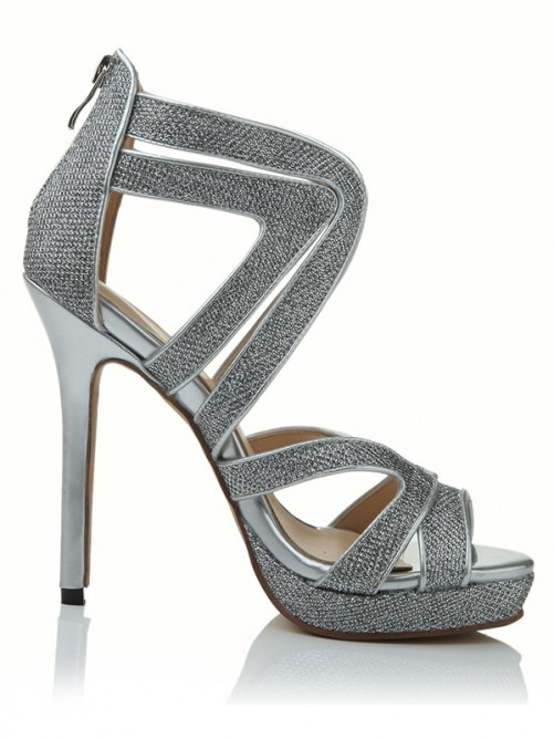 Chicregina Womens Stiletto Heel Peep Toe Elastic Leather Platform Sandal Shoes with Sequin