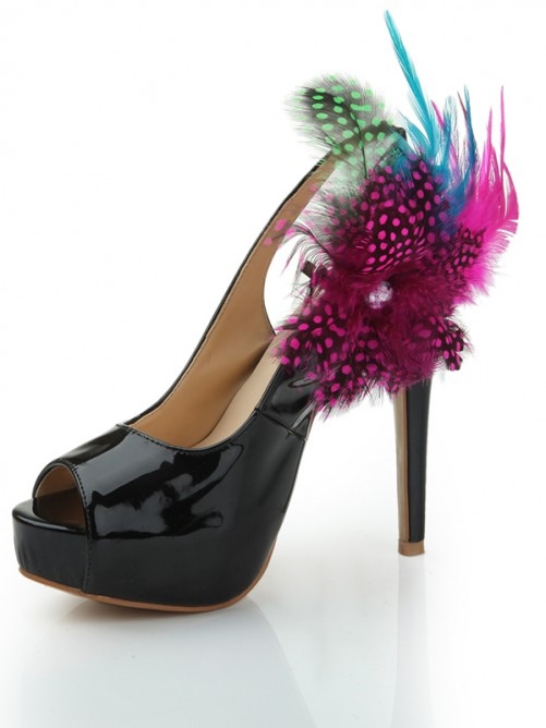 Chicregina Patent Leather Feathers Peep Toe High Heels